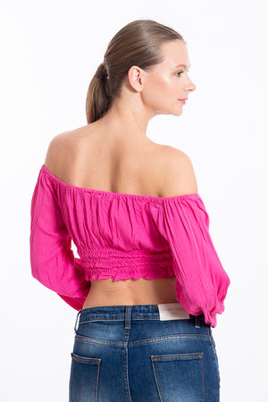 Glamorous long sleeves pink crop top