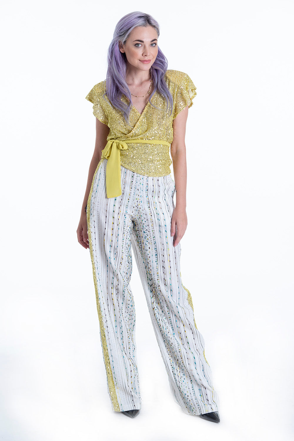 Anna Samouka metallic and sequin stripes wide leg trousers co-ord