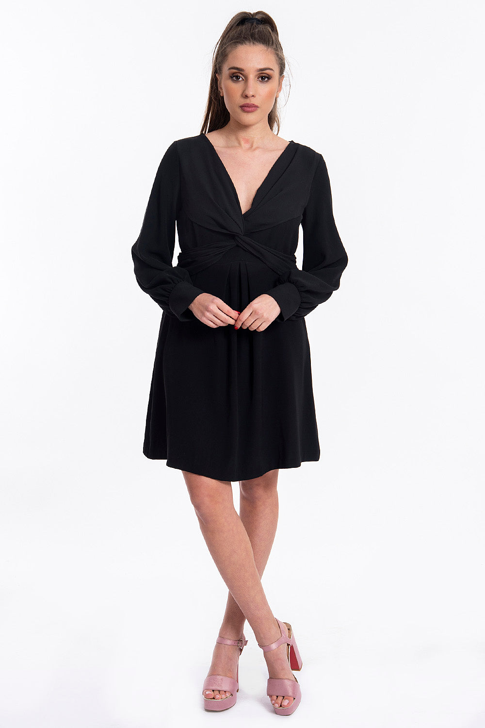 Tensione in mini plung dress with long sleeves