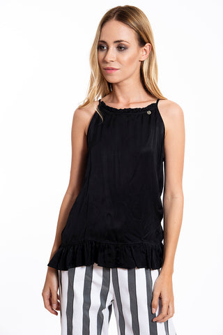 Roberta Biagi black and frills open back tie top