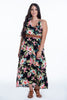 Pixie asymmetric floral dress with open back