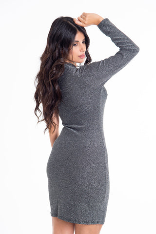 Choker one sleeve metallic mini dress
