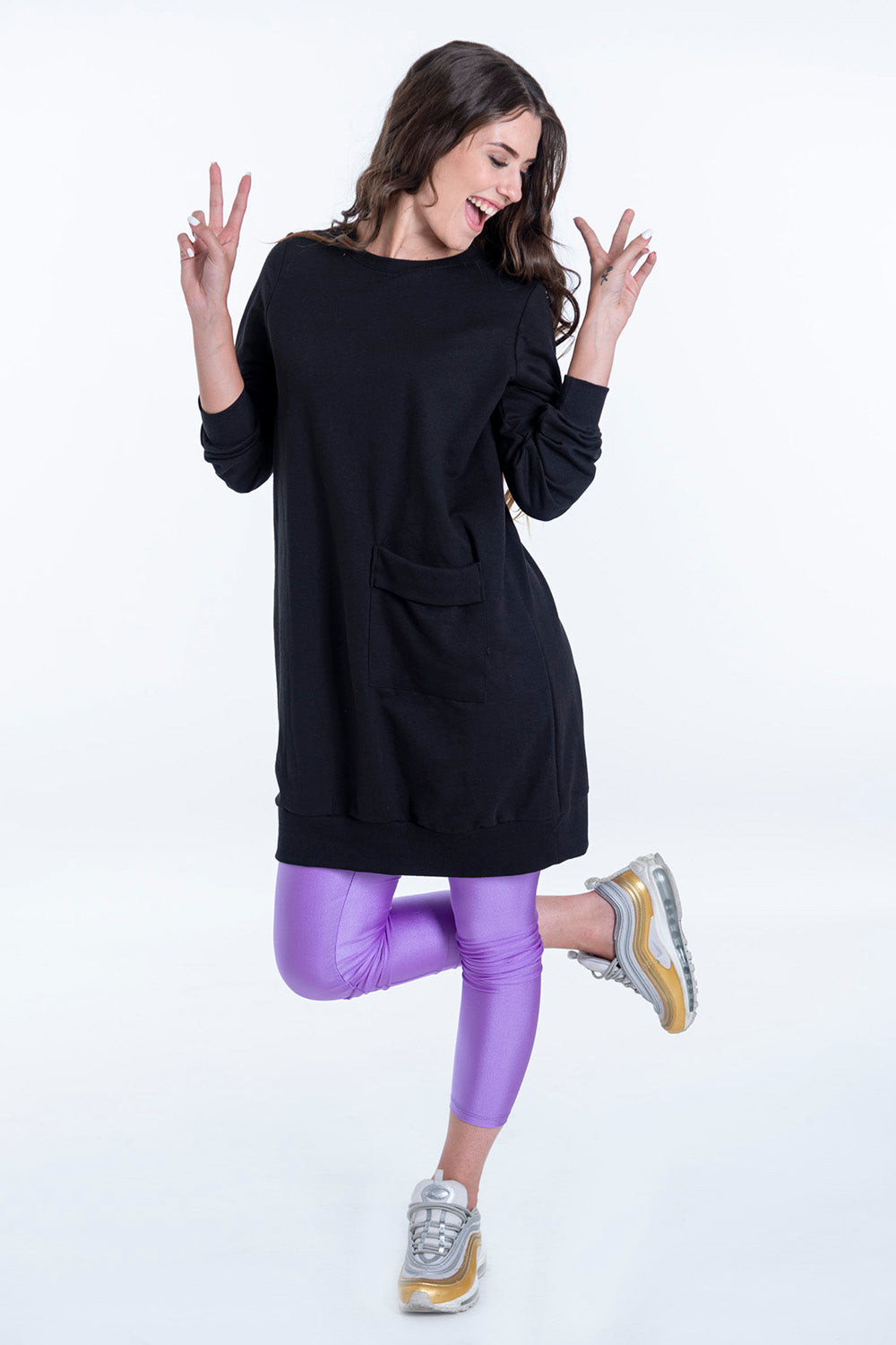 Oversized jersey jumper with front pocket