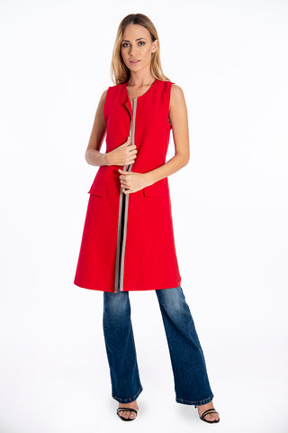 NúNu long vest with elegant studs and pleated back