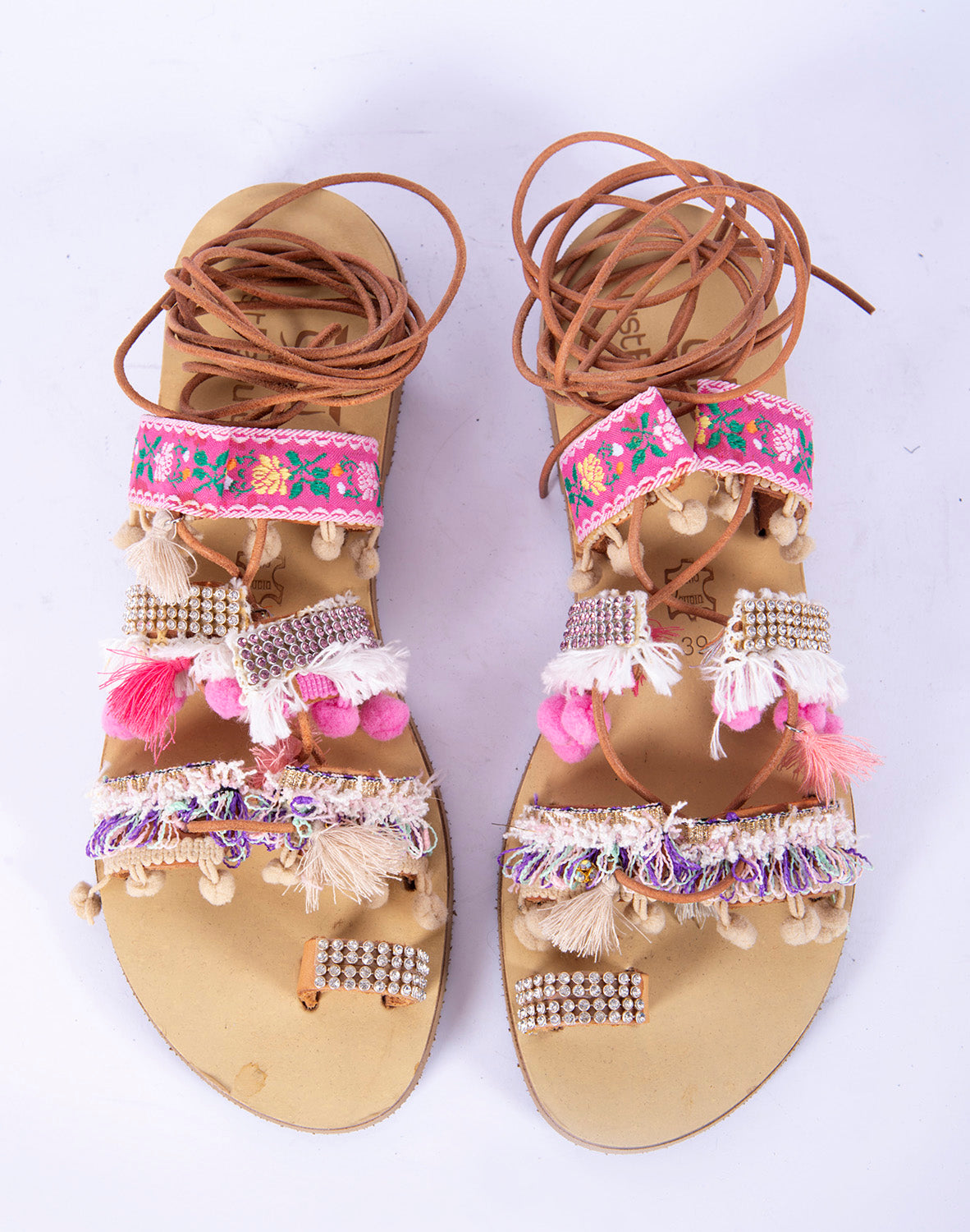 Boho strappy sandals with bom bom and embellishements