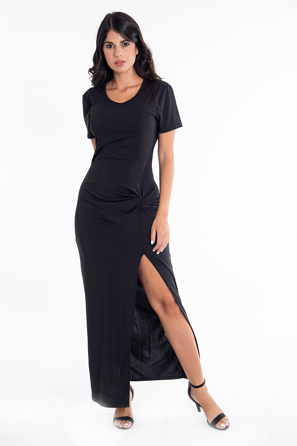 Sh midi ruched detail basic black dress