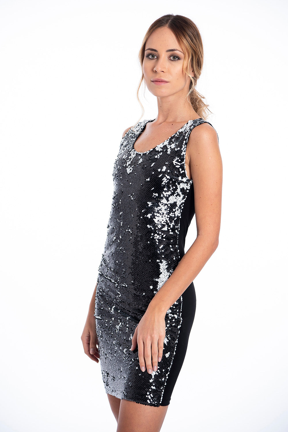 Akè black and white mini sequin dress