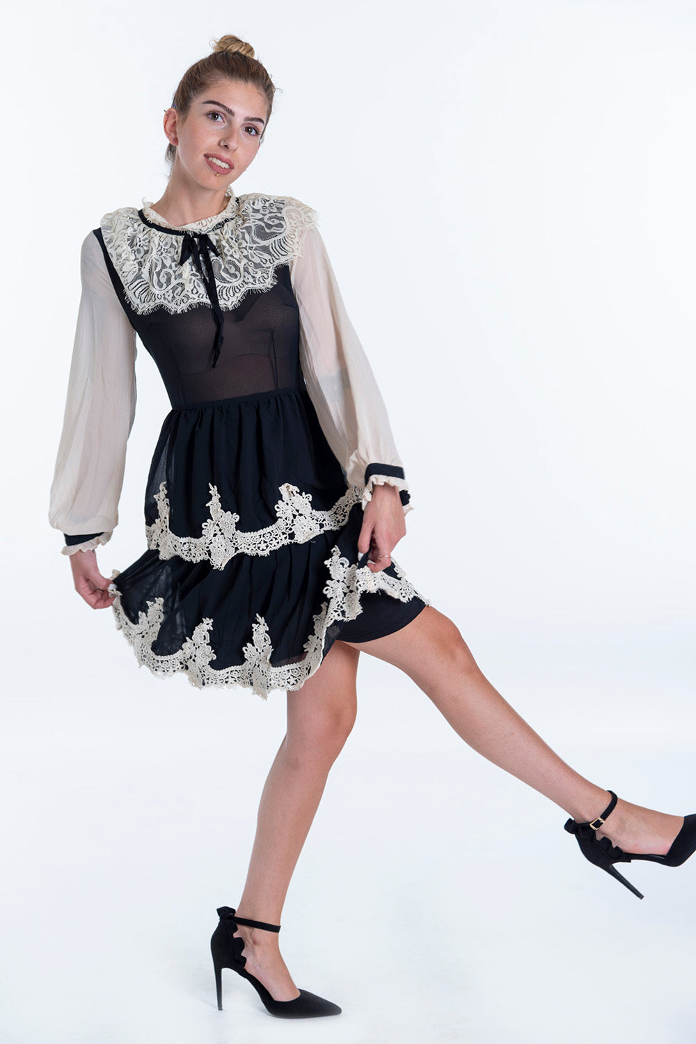 Paccio black lace and tulle mini dress