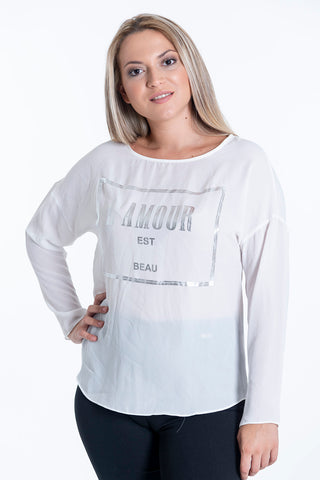 Chiffon long sleeved top with silver text