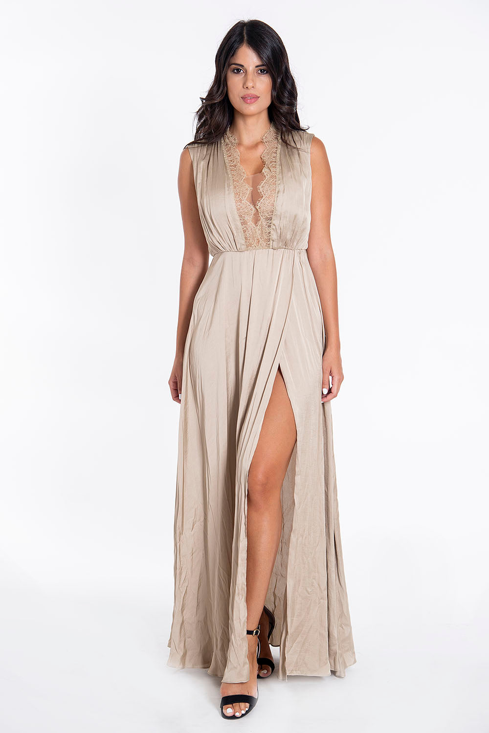 Trash and Luxury lace plunged silk maxi dress