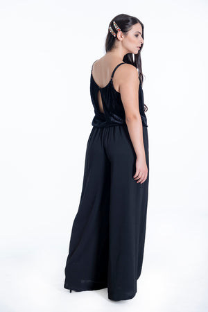 Hellen Barrett oversized jumpsuit with velvet top