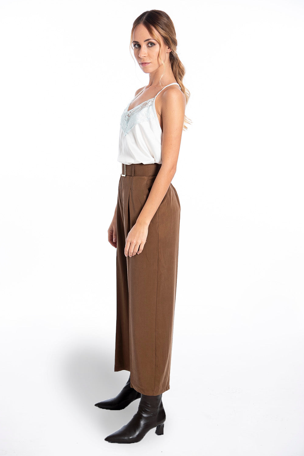 Goa Goa crop straight line pleated trousers with belt