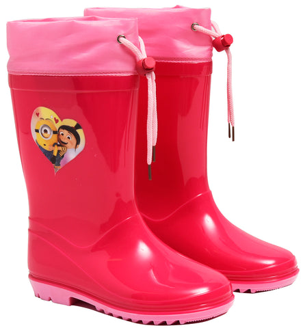 Minions figure rainboots with drawstring