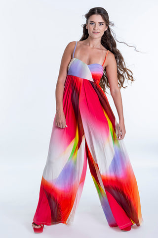 be you colourful maxi jumpsuit with cami straps