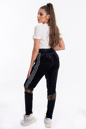 Kavanagh velvet joggers with gold knee sequins