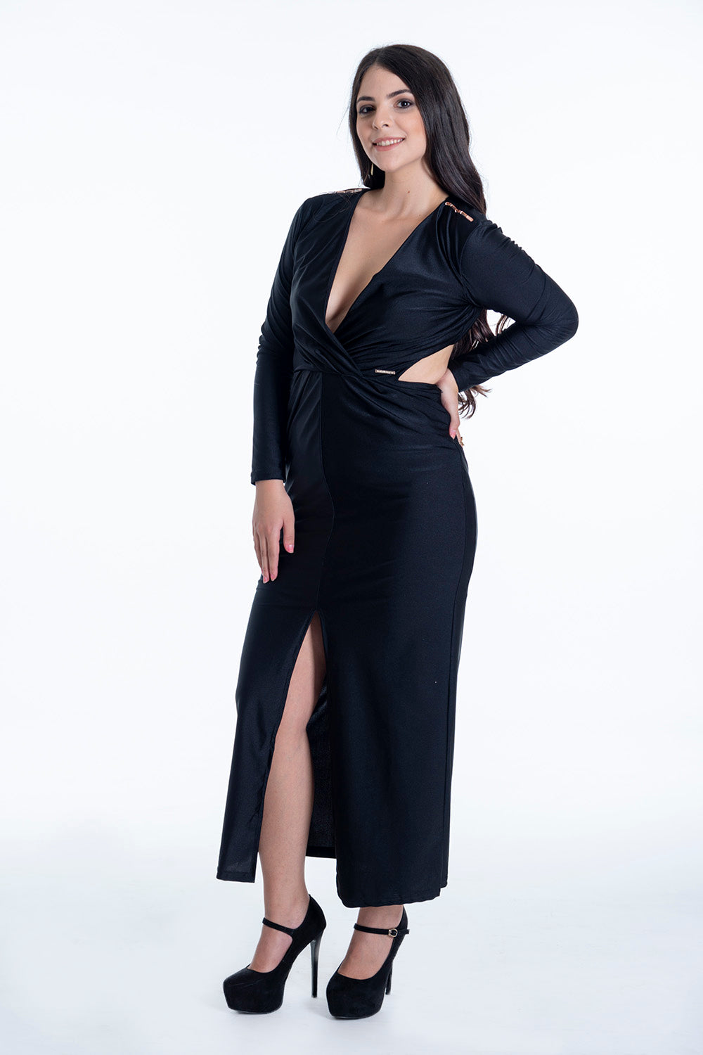 Hellen Barret dress with cut waist details with front split