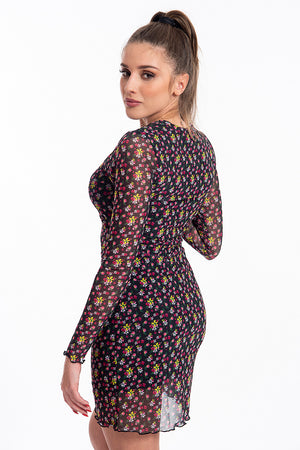 Comme des Fuckdown floral long sleeves dress