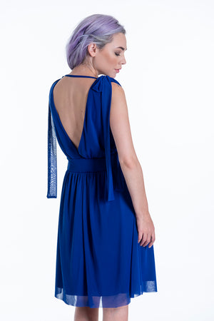 Akè mini waisted royal blue dress