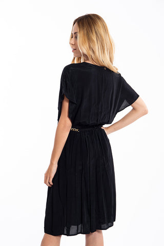 Relish thin plunged wrap pleated dress