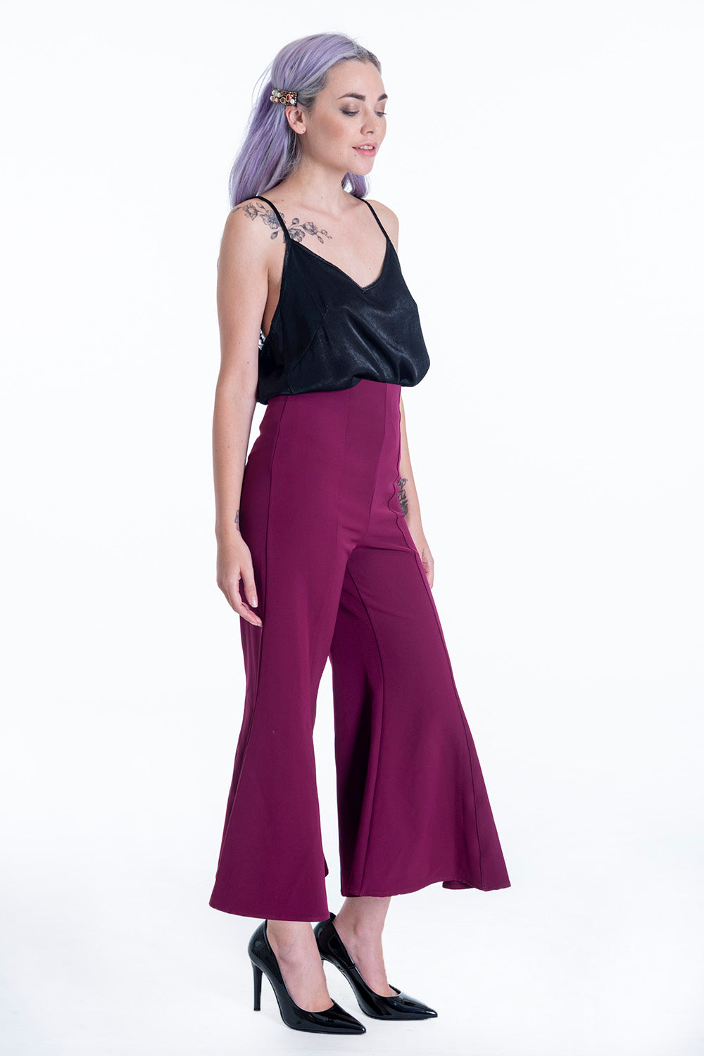Lolamay high waist extreme flare ankle trousers