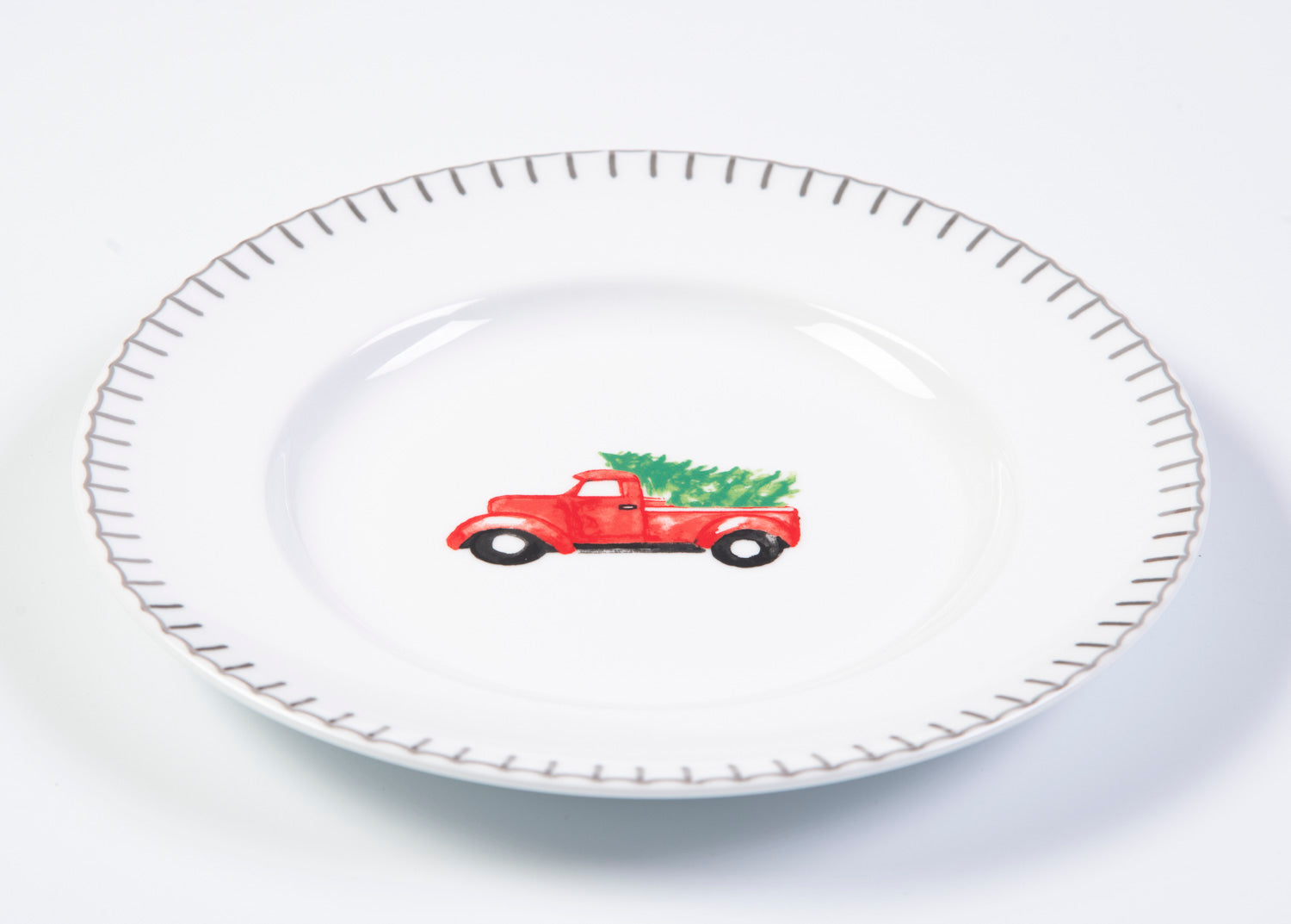 Truck with christmas tree plate
