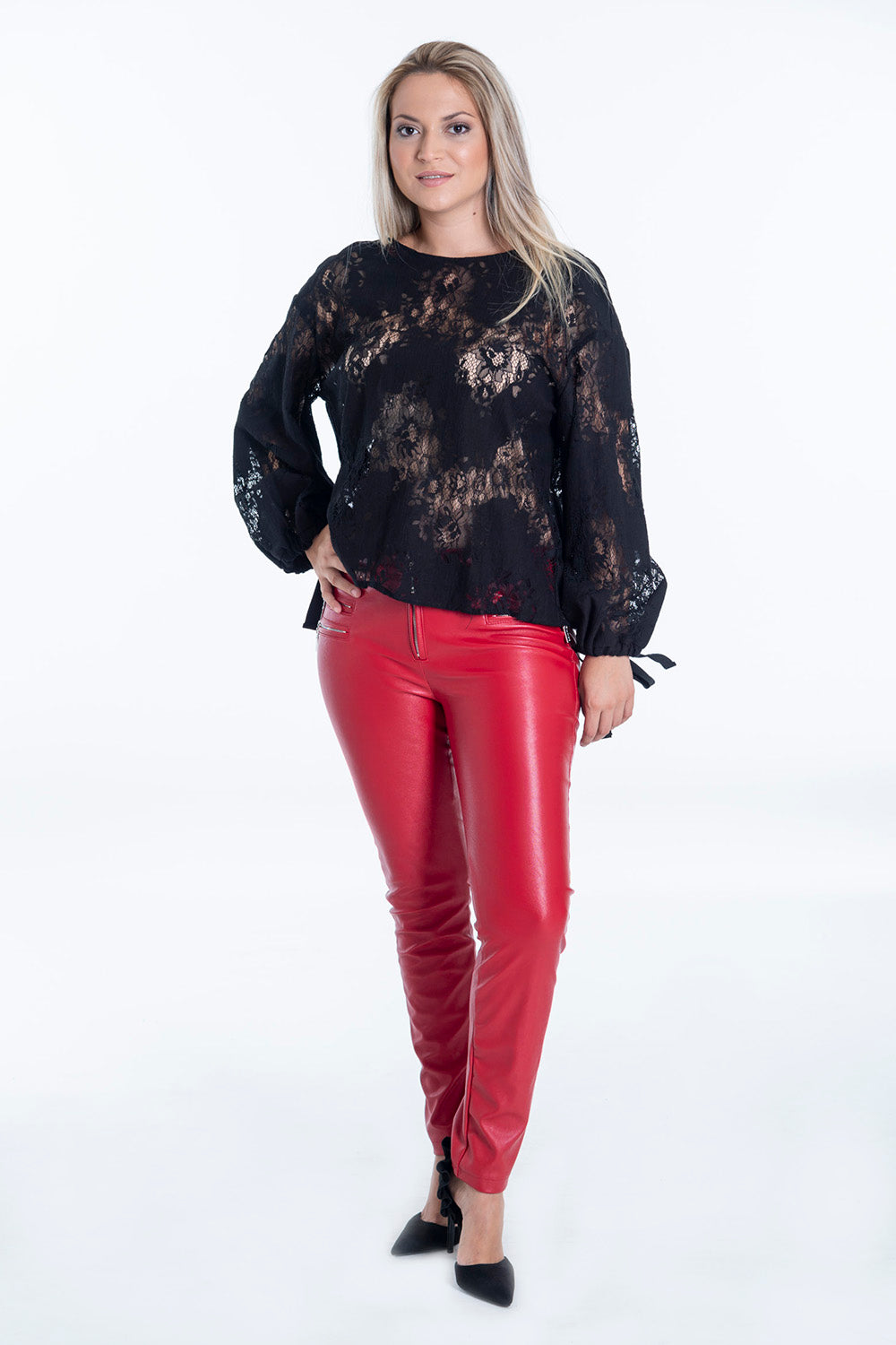 In Vogue leather skinny trousers with zip details