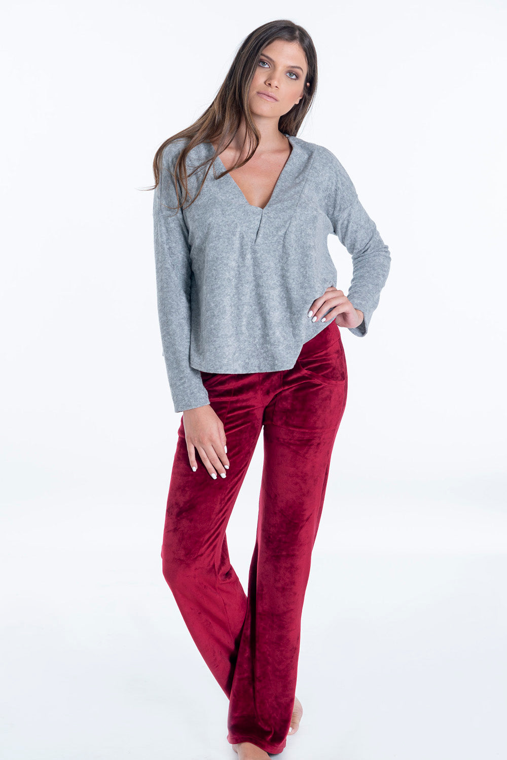 Pixie oversized velvet loungewear jumper with V neck
