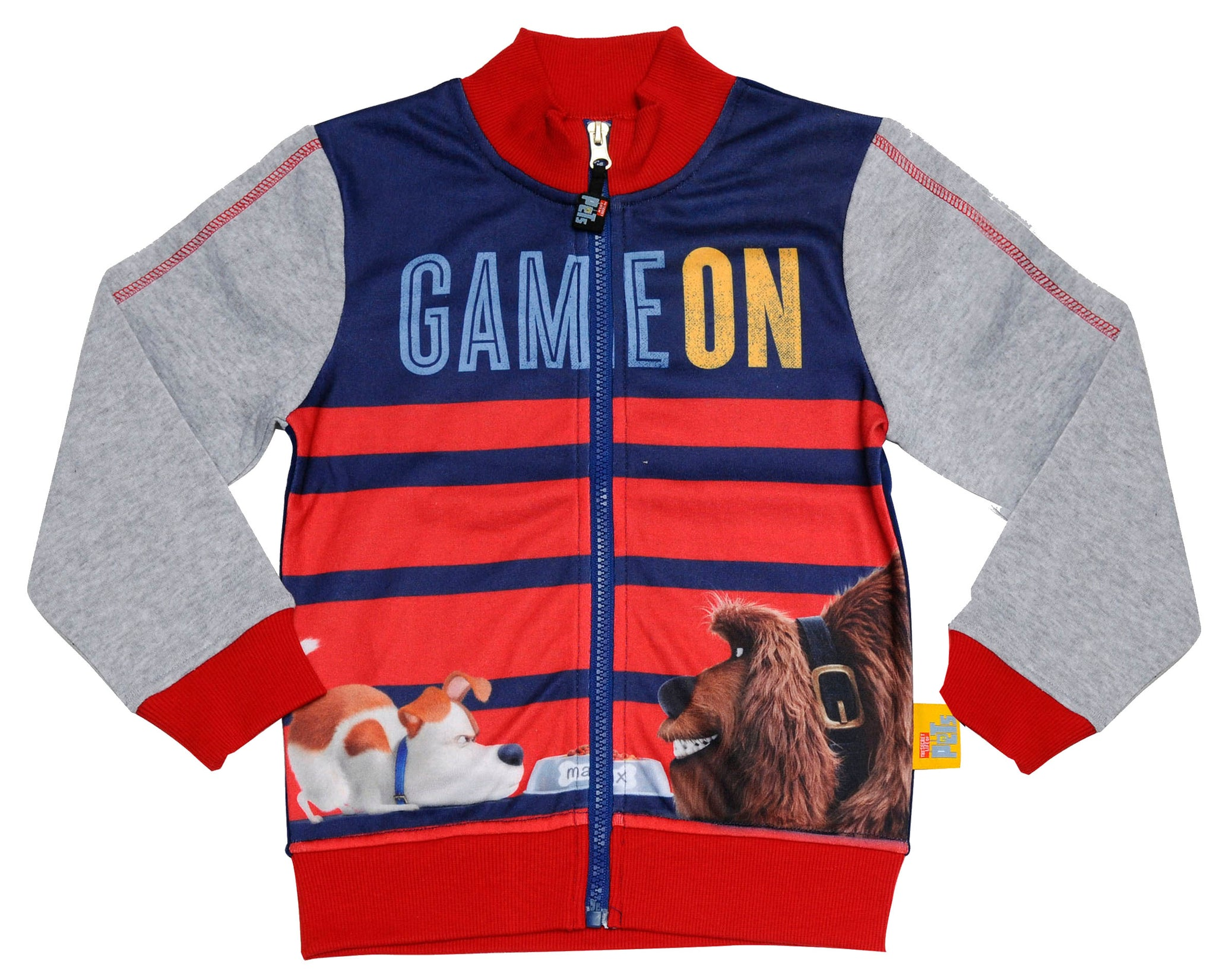 The Secret Life of Pets Game on text jumper with zip fastening
