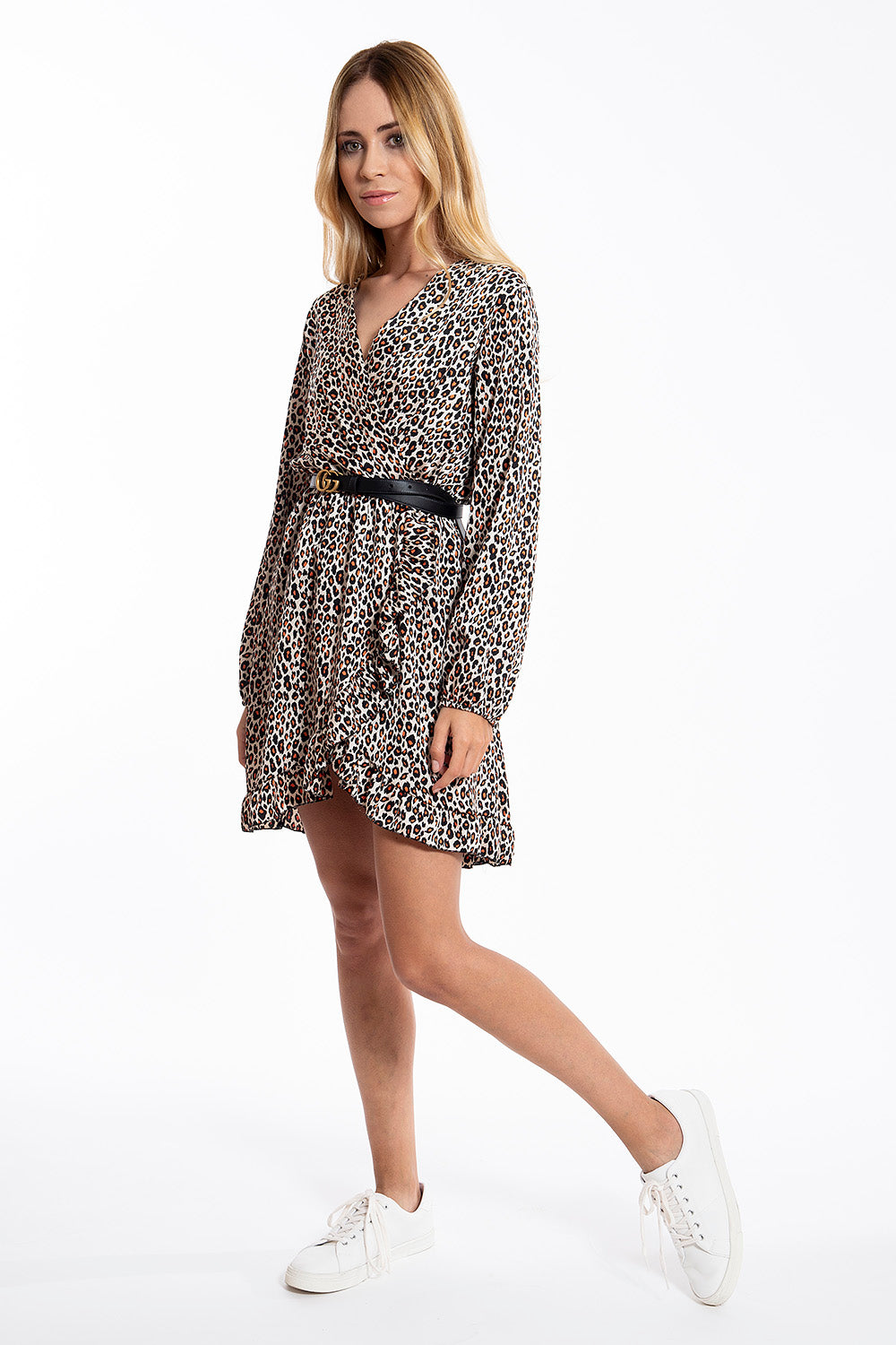 Thin long sleeves leopard dress with elasticated waist and frills