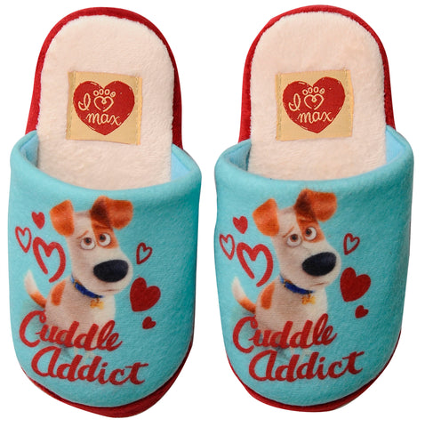 The Secret Life of Pets slippers with Max and hearts design