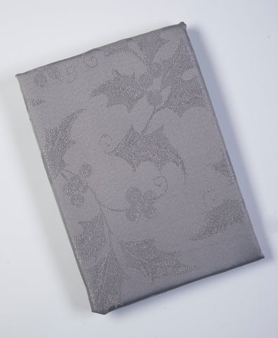 Festive grey with metallic details oblong table cloth