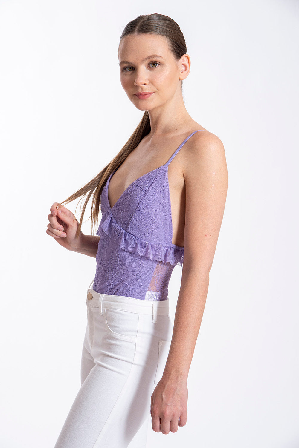 Akè lilac lace body with back tie