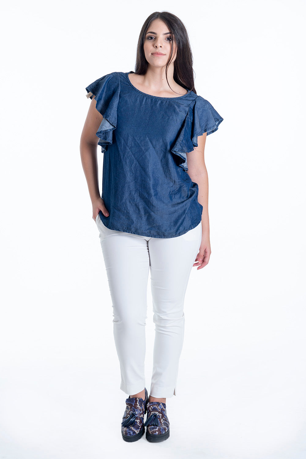 H2O denim top with shoulders frills