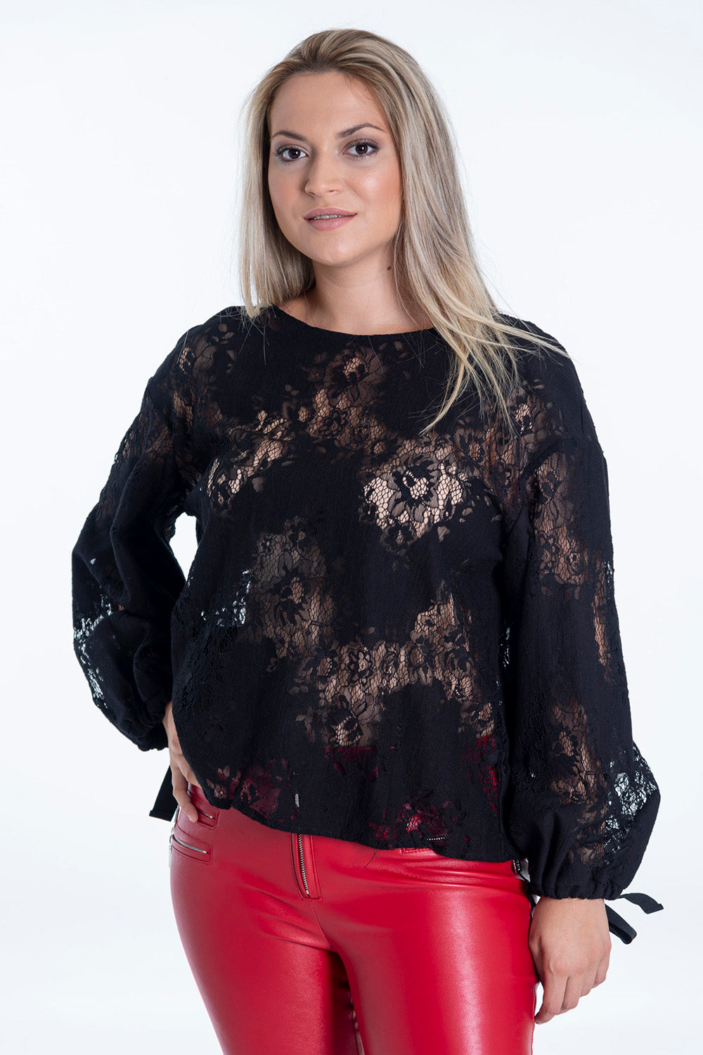 Eco Italy lace top with tie cuffs