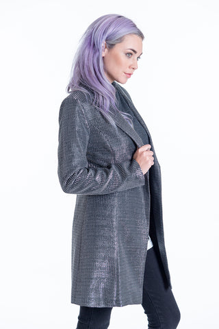 Long metallic blazer with one button