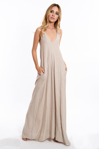 Empathie linen maxi dress with pockets