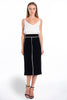 Goa Goa midi chic pencil skirt with white trim