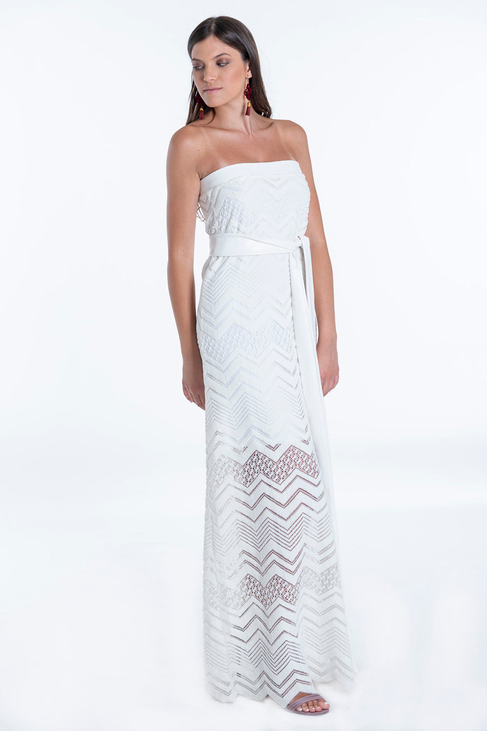 Bojo strapless maxi A-line dress in pattern with leather chest line