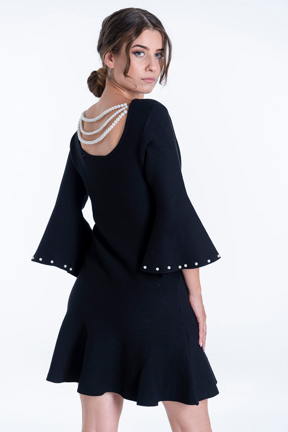 Dress with pearls in the back and bell sleeves