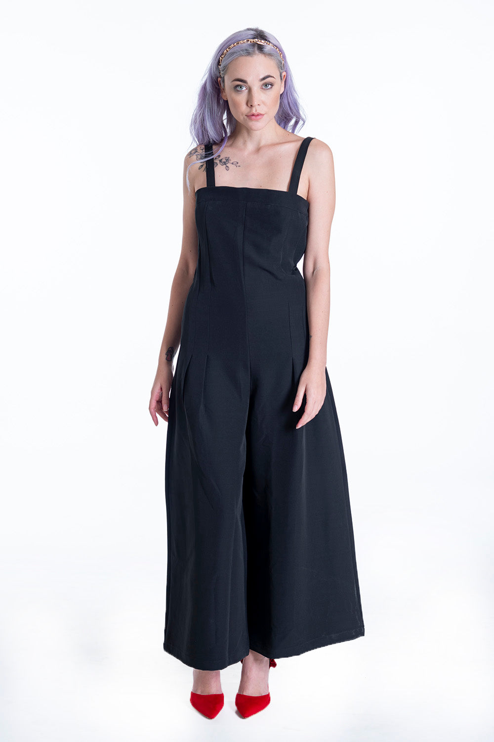 Suited wide leg jumpsuit with removable straps