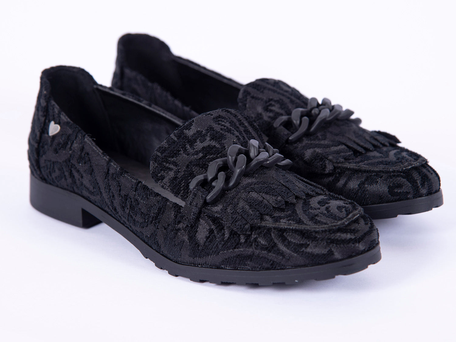 Fabs flat loafers in jacquard with chain detail