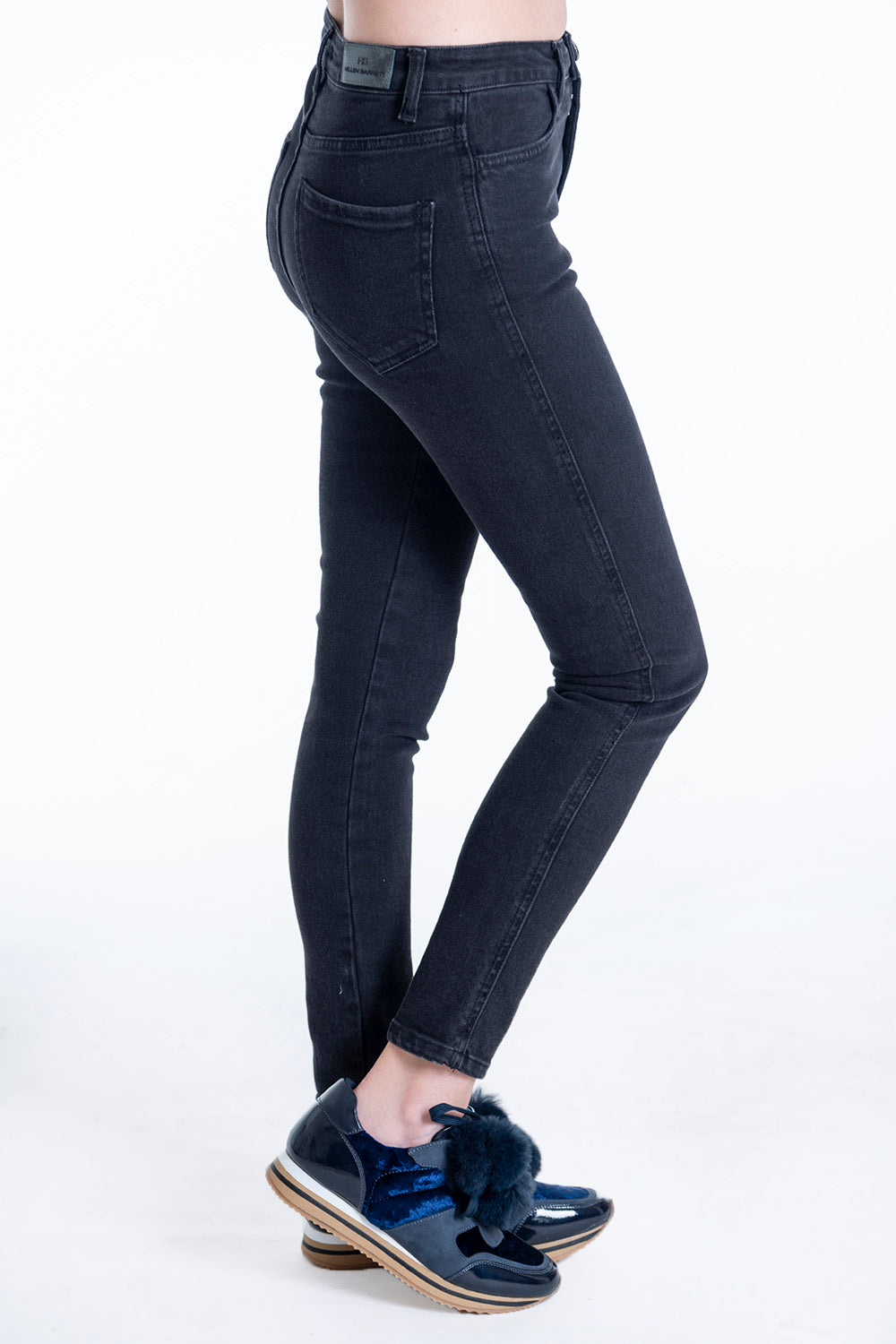 Hellen Barret black skinny jeans with stud button