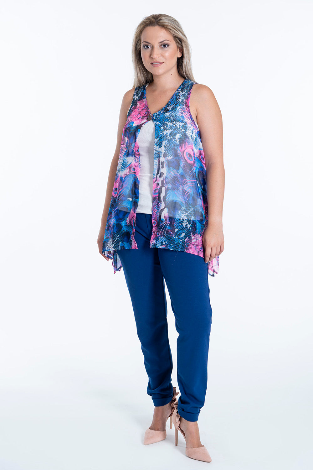 Ocean Blue by Marcia chiffon top in colourful feather design with one button