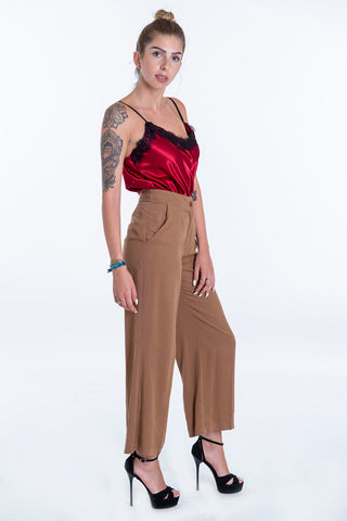 Akè brown wide leg crop soft trousers