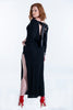 Maxi dress long sleeved with leather back tie
