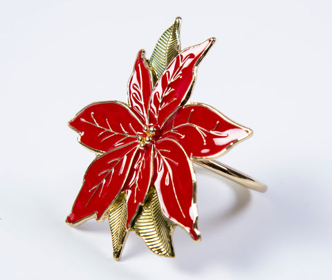 Lenox poinsettia set of 4 napkin rings