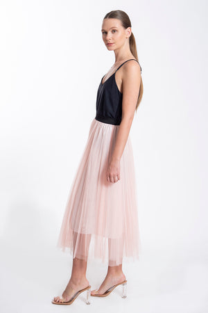 Tulle midi pleated skirt