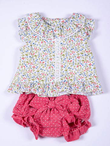 Dolce Petit 2 pieces set floral top and polka bow jam pant