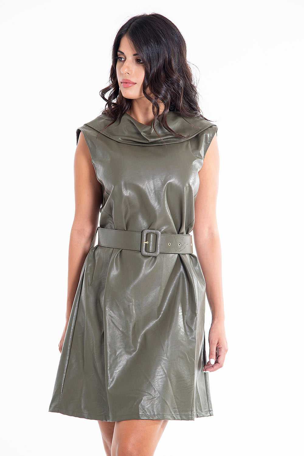 White22 cowl neck leather dress with belt