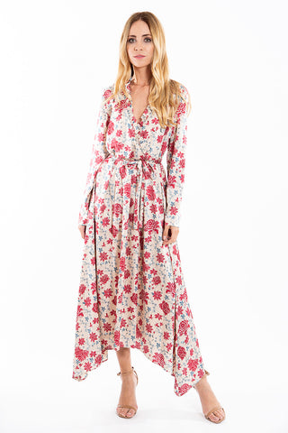 Glamorous silky floral midi dress with wrap and ruffles